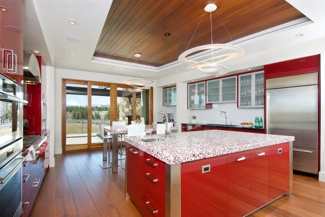 Modern in Red contemporary-kitchen