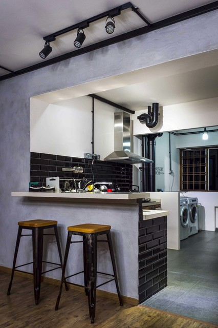 Modern Industrial Concept Hdb 5room Scandinavian Kitchen Singapore By Bayti Design Pte Ltd