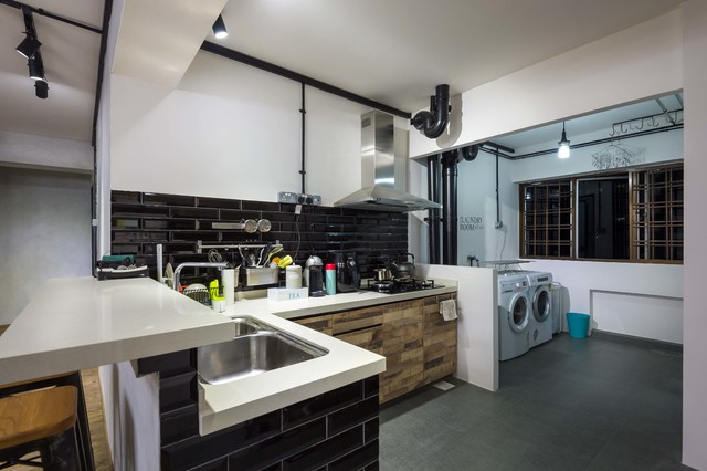 Modern industrial concept hdb 5room scandinavian kitchen singapore by bayti design pte ltd Kitchen backsplash ideas singapore