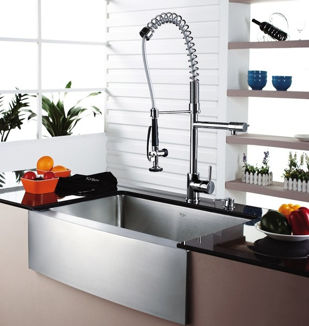 Modern Industrial Kitchen Sink and Faucet industrial-kitchen
