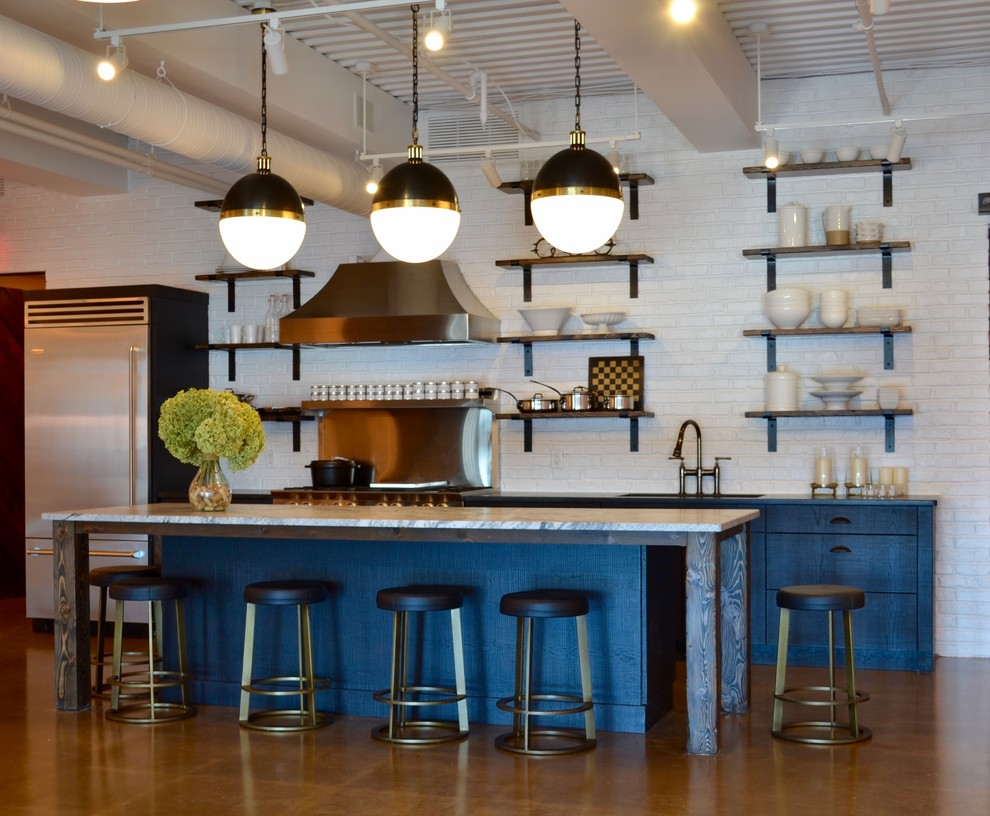 Modern Industrial Kitchen with Blue Cabinets - Industrial