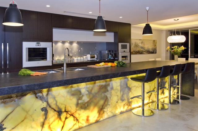 Trendy Kitchen Photo In Sydney With Flat Panel Cabinets, Dark Wood  Cabinets, Gray. Email Save. Impala Kitchens And Bathrooms
