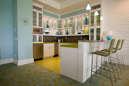 What is the name of the blue paint color used on the wall for Modern kitchen wall colors