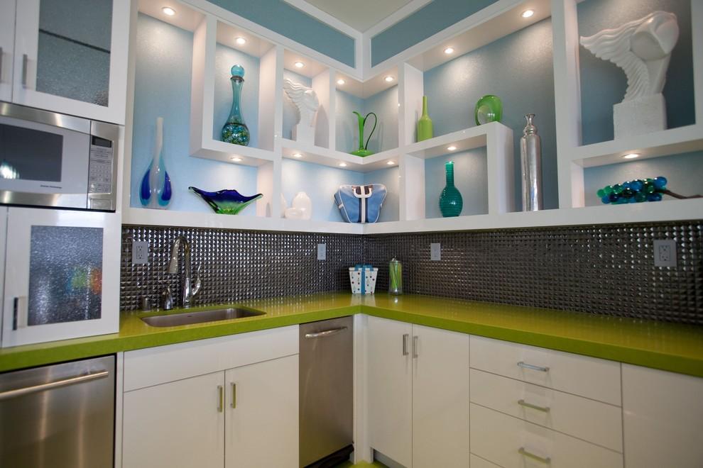 Example of a trendy kitchen design in San Diego with quartz countertops, metallic backsplash, mosaic tile backsplash and green countertops