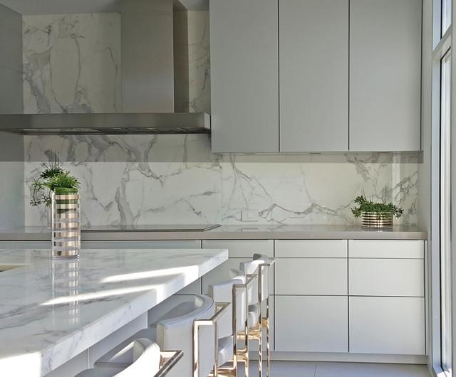 Example of a minimalist kitchen design in Boston