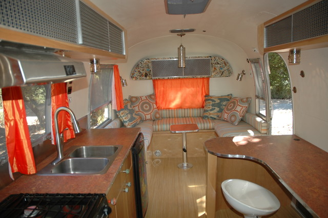 Modern Kitchen Galley Inside A 1967 Vintage Airstream ...