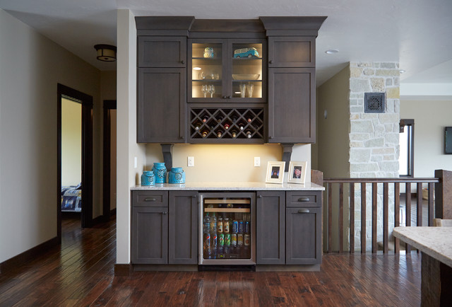 Wine Rack with Small Lighted Cabinet Accents and Mini Fridge - Modern ...