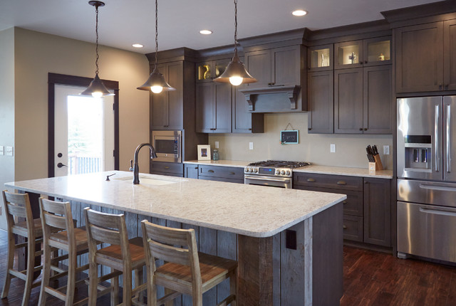Kitchen Cabinets with Decorative Glass Displays and Large ...