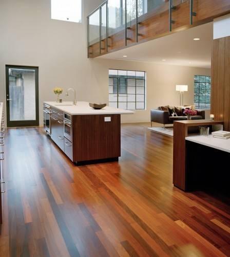 Hi there the flooring is gorgeous is this tigerwood for Modern teak kitchen cabinets