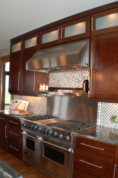stainless backsplash with shelf. Black Bedroom Furniture Sets. Home Design Ideas