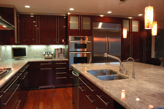 Kitchen In Los Gatos High Gloss Finish Cherry Veneer Modern Kitchen
