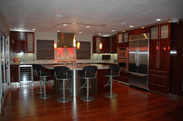Modern Kitchen Cabinets Cherry modern kitchen in los gatos, high gloss finish, cherry veneer