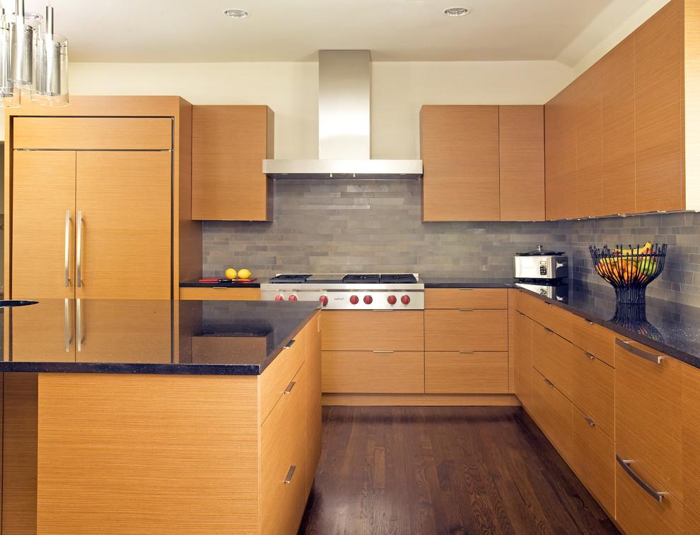 Kitchen - modern kitchen idea in Dallas with paneled appliances