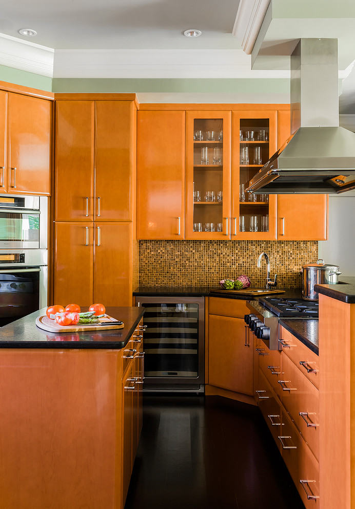 Inspiration for a contemporary kitchen remodel in Boston with flat-panel cabinets and medium tone wood cabinets