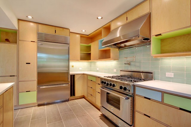 Birch Plywood Kitchen Cabinets