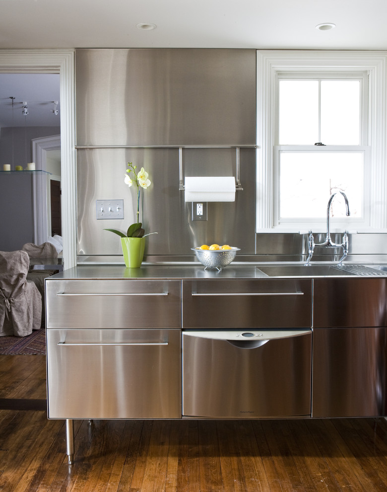 Transitional kitchen photo in Other with stainless steel countertops, an integrated sink, stainless steel cabinets, metallic backsplash, metal backsplash, stainless steel appliances and flat-panel cabinets