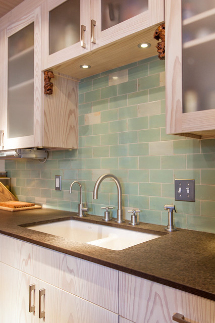Seafoam Subway Tile Kitchen - Modern - Kitchen - Other - by Mercury Mosaics and Tile