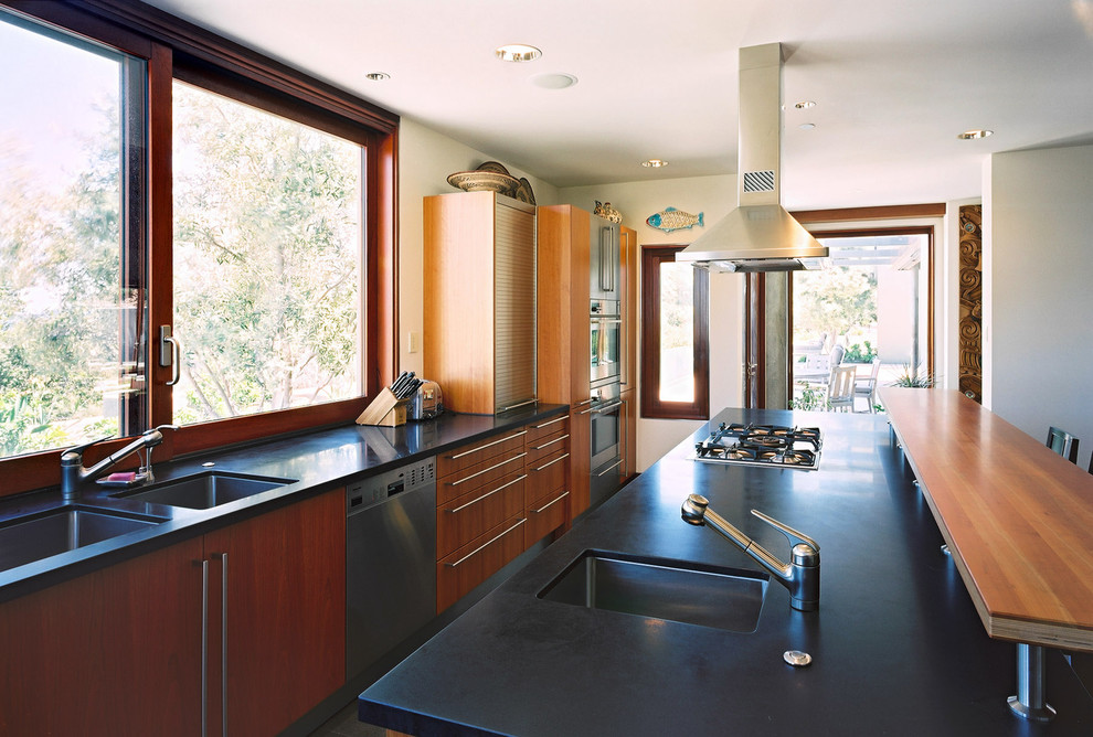 Kitchen - modern kitchen idea in San Francisco with granite countertops, stainless steel appliances, an undermount sink, flat-panel cabinets and medium tone wood cabinets