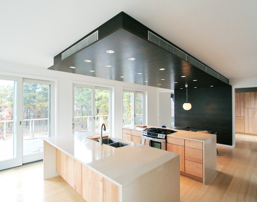 Inspiration for a modern kitchen remodel in New York with stainless steel appliances, a double-bowl sink, flat-panel cabinets, light wood cabinets and quartz countertops
