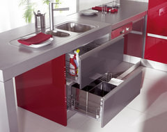 Lower Cabinets for Kitchen Sink with Metal Retractable Baskets modern kitchen