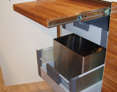 Pull-Out Cutting Board and Waste System Storing Combo modern kitchen