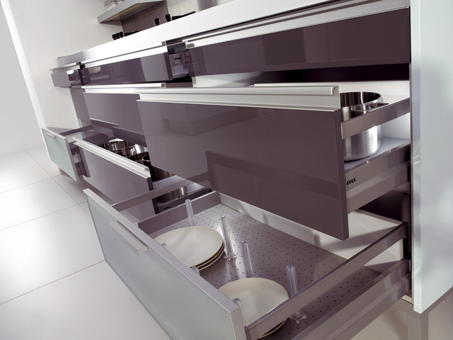 deep pull out drawers with dividers modern kitchen