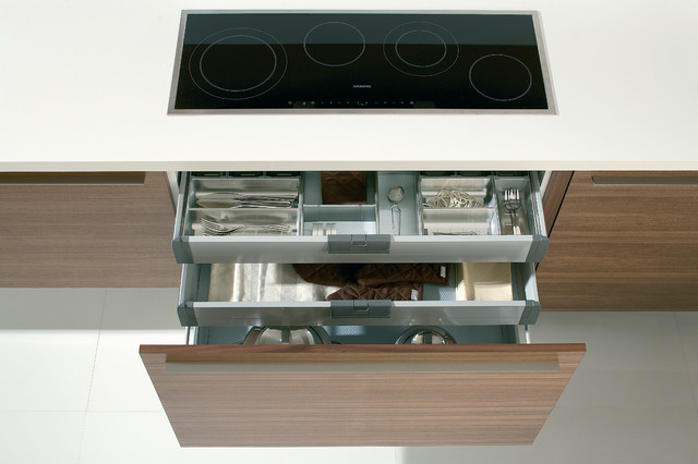 Deep drawers and hidden drawers with dividers modern for Secret drawer kitchens