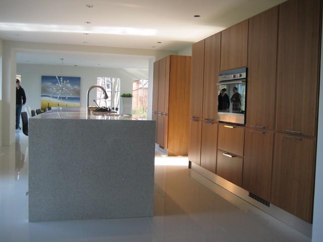 Modern Kitchen, white countertops, walnut cabinets contemporary-kitchen
