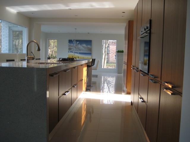 fascinating modern walnut kitchen cabinets | Modern Kitchen, white countertops, walnut cabinets