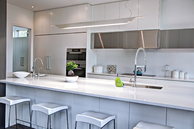 White Kitchen Quartz modern kitchen - white quartz, stainless steel - contemporary