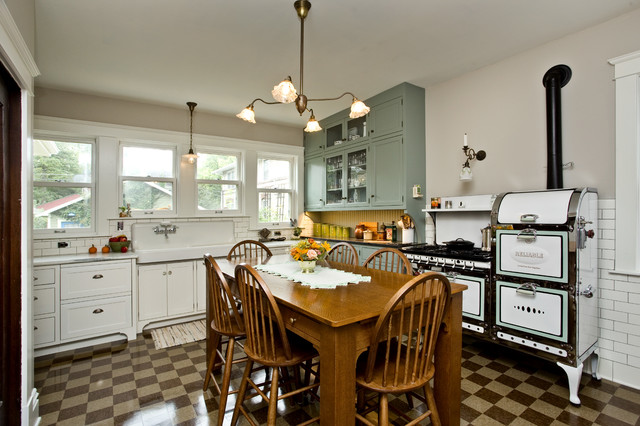 Modern Kitchen With 1920s Look Traditional Kitchen