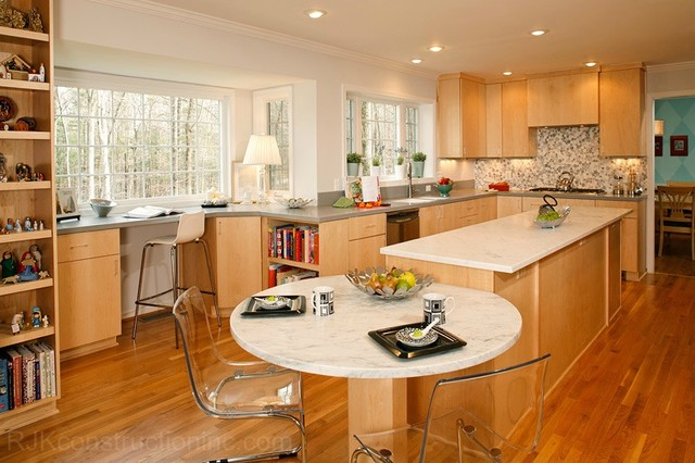 Modern kitchen with cwp cabinetry marble island - Kitchen island with table attached ...