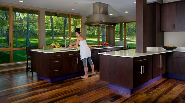 Modern Kitchen With Dark Cabinets And View Of Greenery Modern Kitchen Part 38