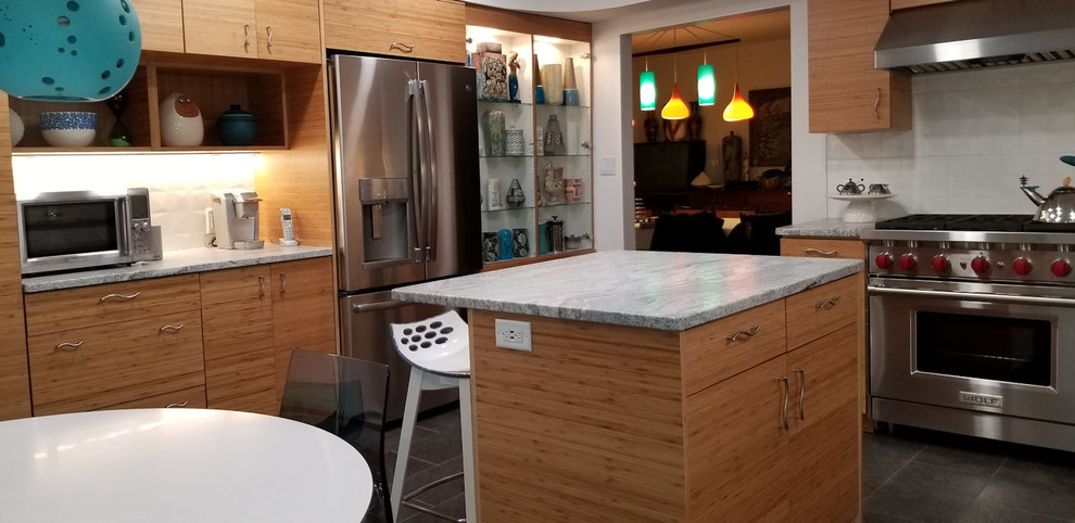 Modern Kitchen with Horizontal Grain Bamboo Cabinets ...