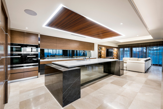 Modern Kitchen With Timber Feature Ceiling Contemporary