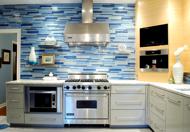 Modern Kitchen With Vetrazzo And Think Glass Countertops Contemporary Kitchen