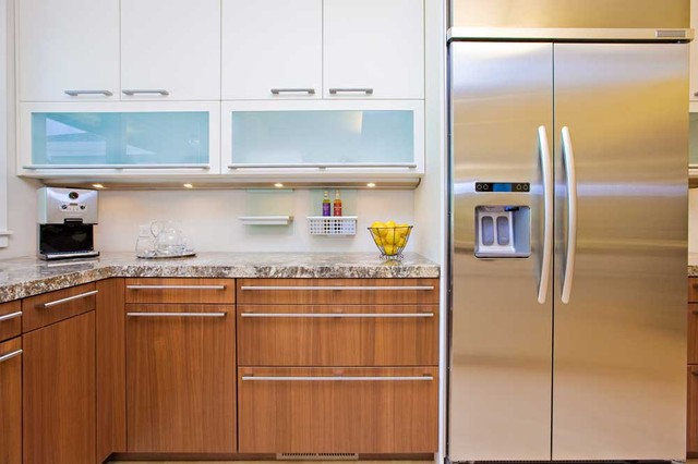 Modern Kitchen wth contrasting cabinetry and frosted glass ...