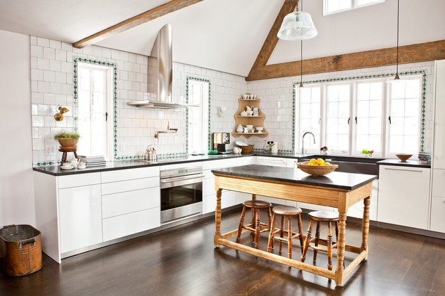 Beautiful Kitchen   Traditional Kitchen Idea In Boston With Flat Panel Cabinets,  White Cabinets,