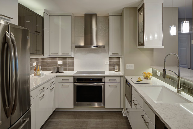 Small contemporary u-shaped porcelain floor kitchen idea in Chicago with an  undermount sink,