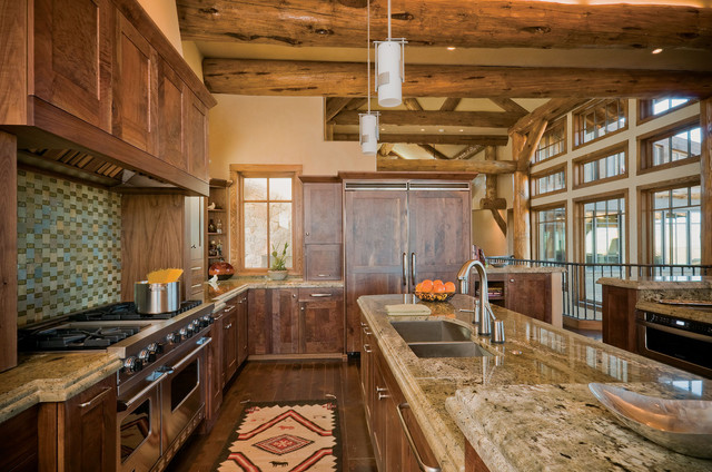 Modern mountain kitchen design rustic kitchen denver for Traditional rustic kitchen