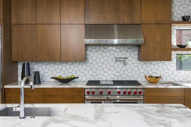 modern ogee drop kitchen tile backsplash - contemporary - kitchen