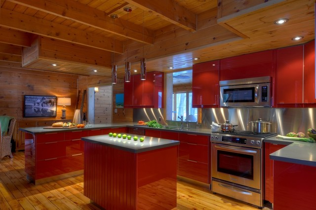 Modern Red Kitchen In A Log Cabin Contemporary