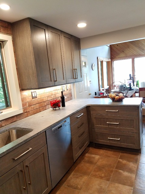 Modern Rustic Kitchen In Grey And Brown Transitional Kitchen Boston By Zobel Co Kitchens Houzz Ie