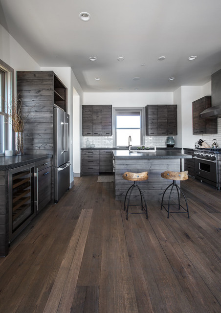 Modern Rustic Kitchen Gray modern rustic lodge | victory ranch | park city - rustic - kitchen
