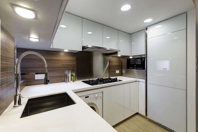 Modern small warm apartment contemporary kitchen for Apartment design hk