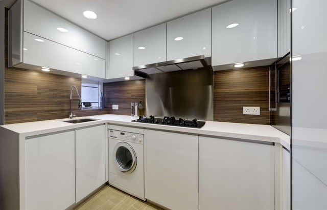 Inspiration For A Contemporary L Shaped Kitchen Remodel In Hong Kong With An Undermount Sink