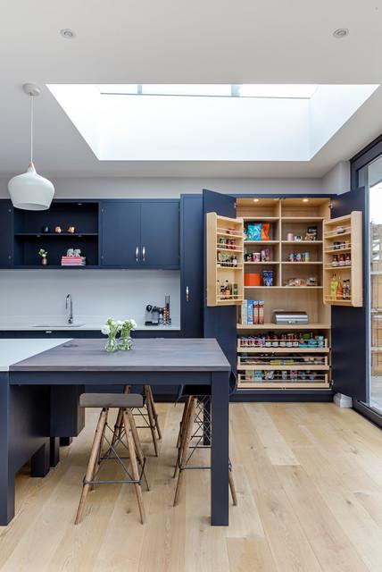 Modern Swedish Kitchen In Dark Blue Transitional