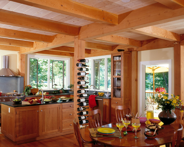 Modern Timber Frame In Massachussets Rustic Kitchen Boston By Timberpeg