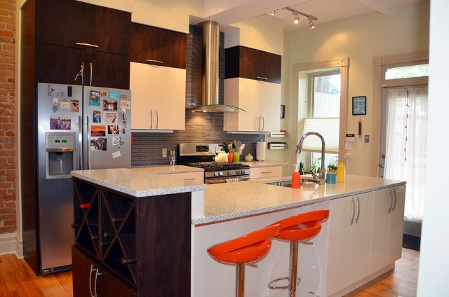 Modern townhouse north downtown contemporary kitchen for Townhouse kitchen design