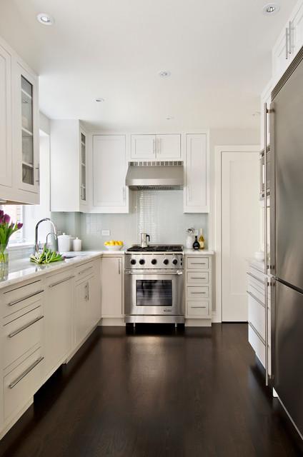 Modern traditional petite chefs kitchen traditional for Modern traditional kitchen cabinets